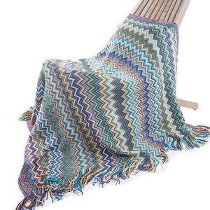 Blue Ethnic Tassel Cozy Throw Blanket